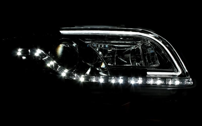 Headlights KLARGLAS SCHEINWERFER SET VW T5 LED TAGFAHRLICHT TFL ...