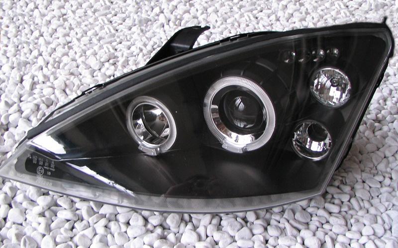 angel eyes scheinwerfer ford focus mk1 98 01 black. Black Bedroom Furniture Sets. Home Design Ideas