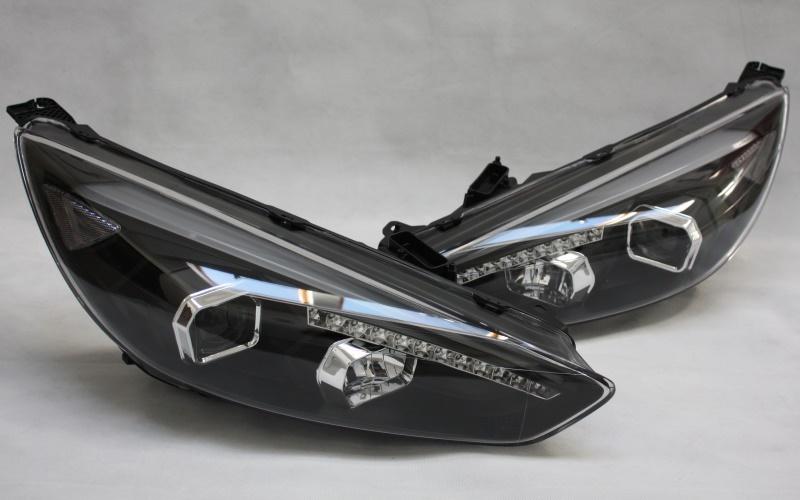 scheinwerfer set f r ford focus mk3 dyb facelift led tagfahrlicht tfl schwarz ebay. Black Bedroom Furniture Sets. Home Design Ideas
